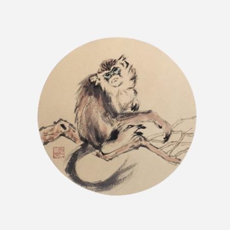 赵小杰书画作品十二生肖《灵猴图》