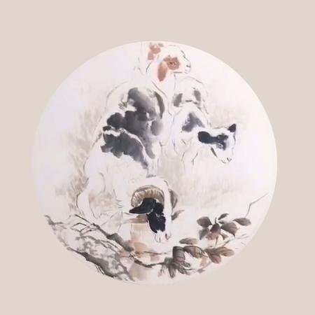 赵小杰书画作品十二生肖《羊图》