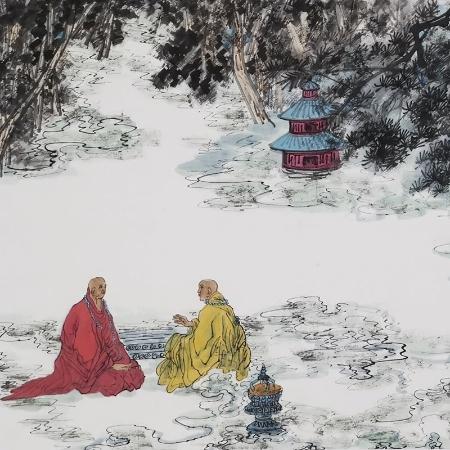 郭子昂书画作品《高士论禅》